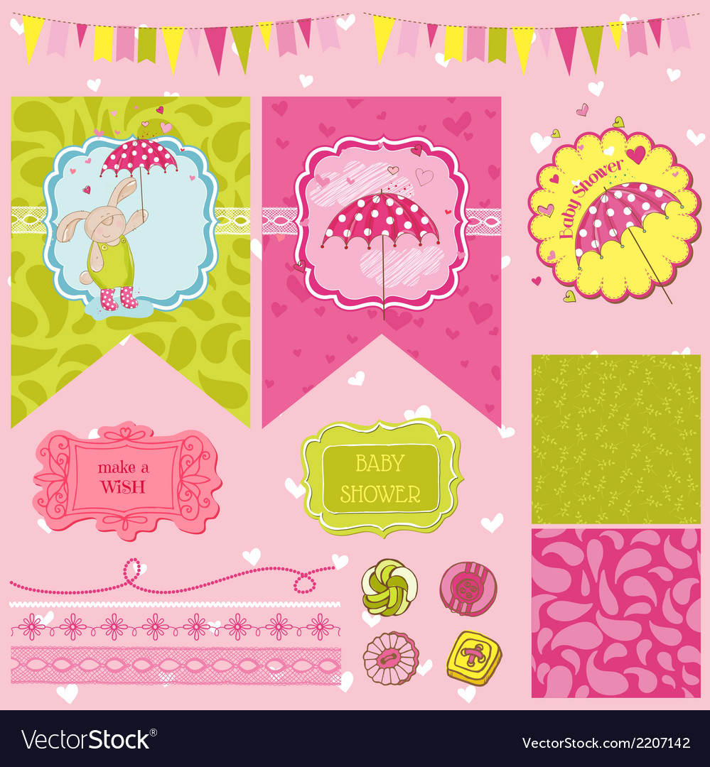 Baby bunny shower theme vector | Price: 1 Credit (USD $1)