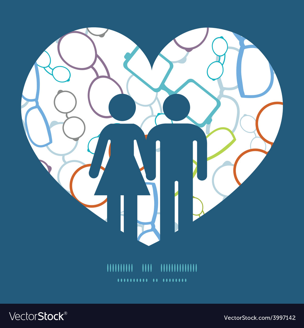 Colorful glasses couple in love silhouettes vector | Price: 1 Credit (USD $1)