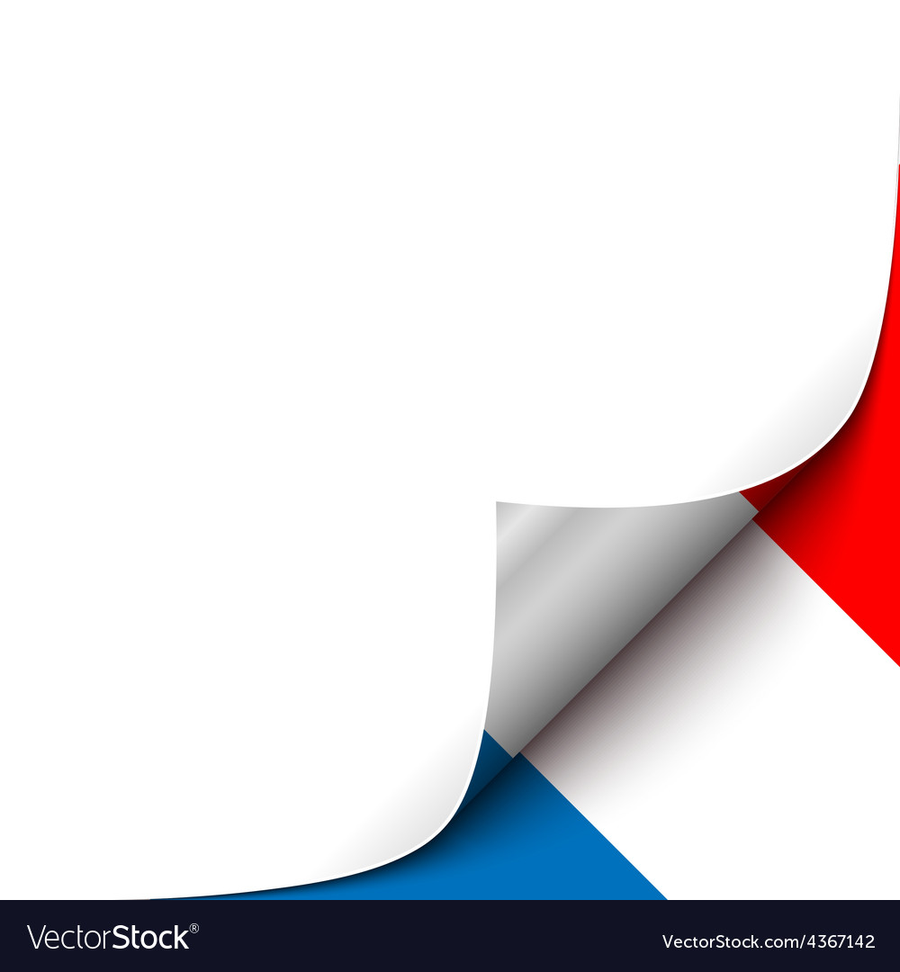 Curled up paper corner on french flag background vector | Price: 1 Credit (USD $1)