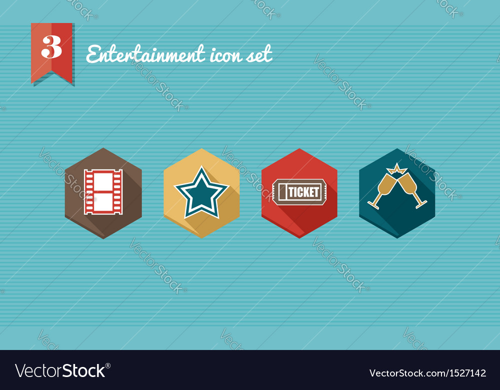 Entertainment flat icons set vector | Price: 1 Credit (USD $1)