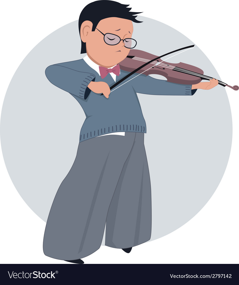 Little boy playing violin vector | Price: 1 Credit (USD $1)