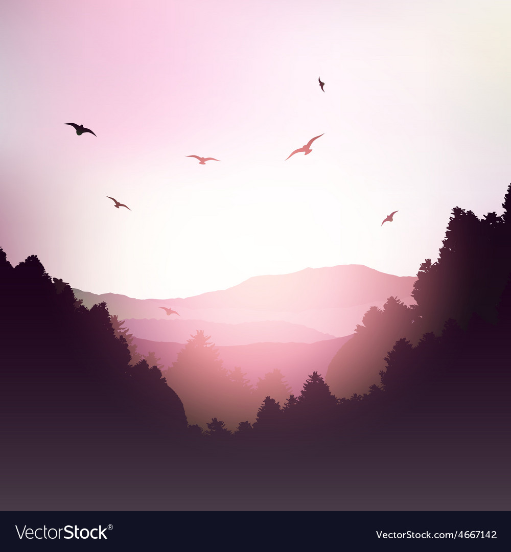Mountains and trees landscape vector | Price: 3 Credit (USD $3)