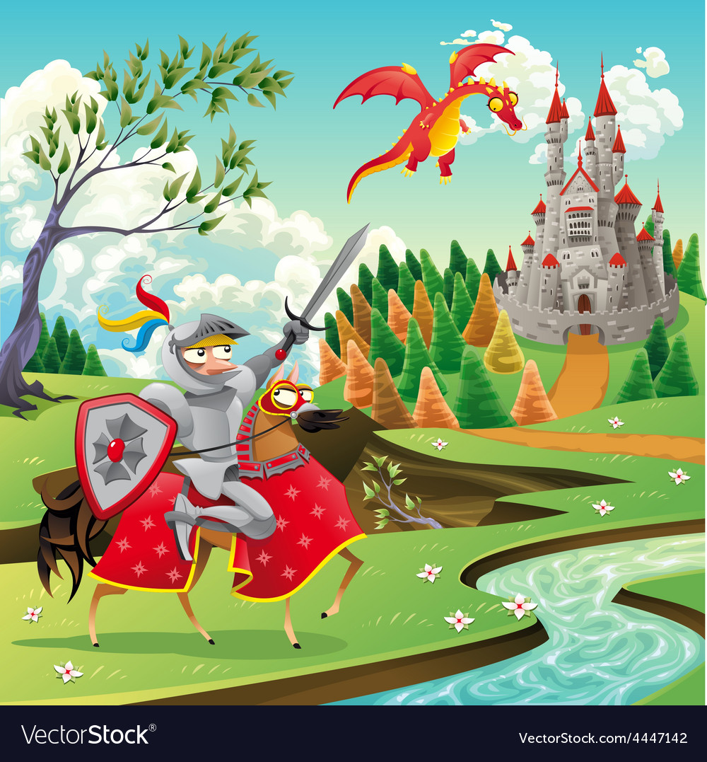 Panorama with medieval castle dragon and knight vector | Price: 5 Credit (USD $5)