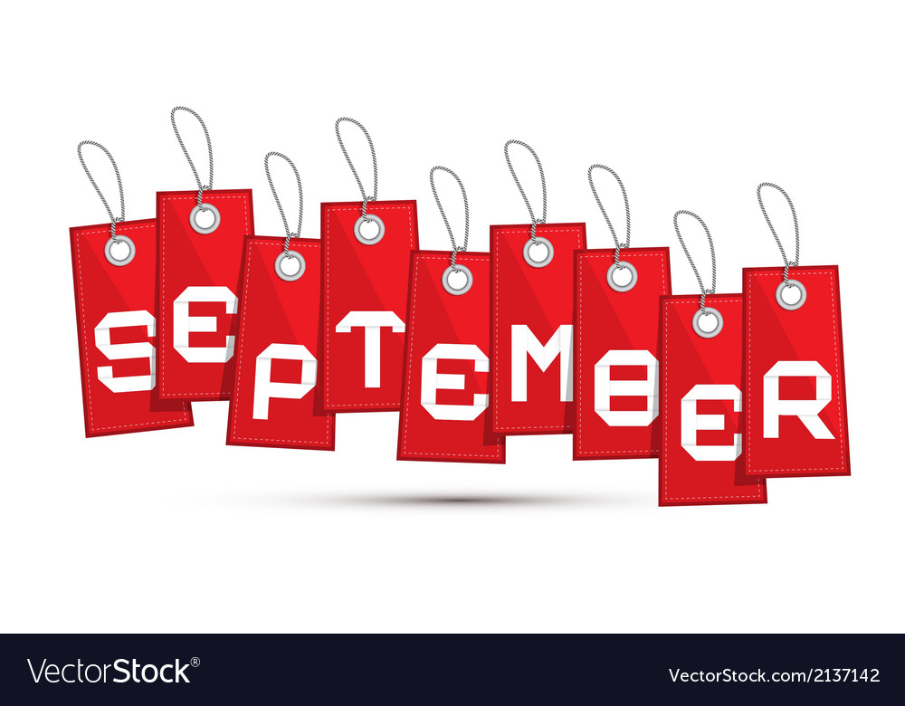 September red discount sale paper label tag with vector   Price: 1 Credit (USD $1)