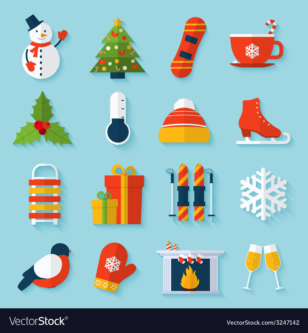 Winter stickers set vector | Price: 1 Credit (USD $1)