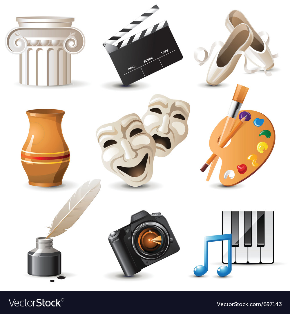 9 highly detailed arts icons vector