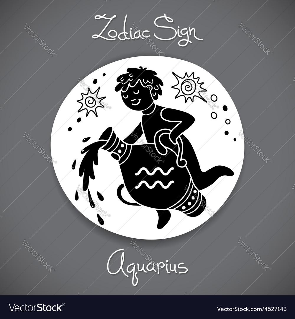 Aquarius zodiac sign of horoscope circle emblem in vector | Price: 1 Credit (USD $1)
