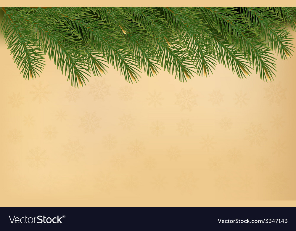 Christmas background with branches of tree and old vector | Price: 1 Credit (USD $1)