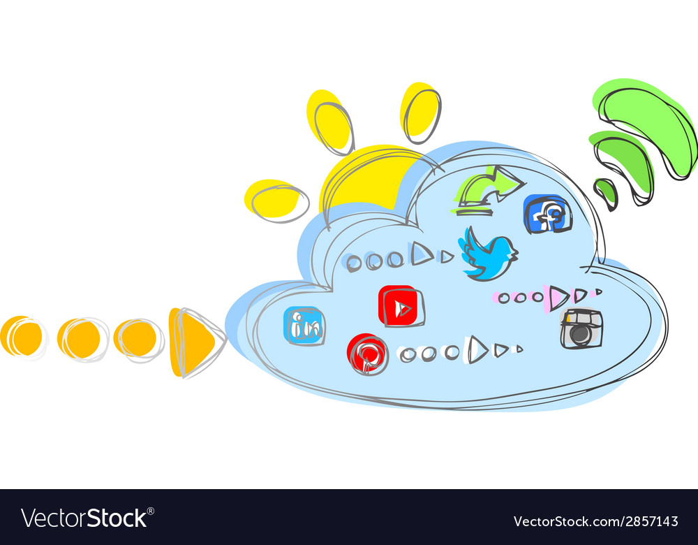 Cloud with internet and social network icons vector | Price: 1 Credit (USD $1)