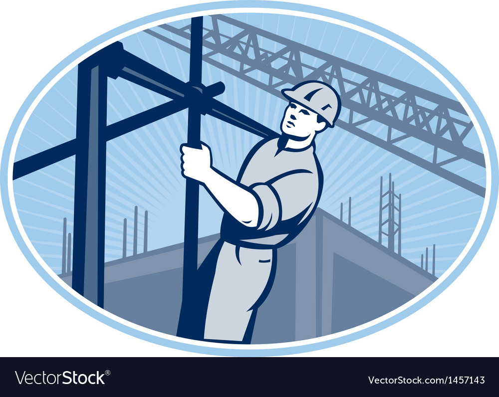 Construction worker scaffolding retro vector | Price: 1 Credit (USD $1)
