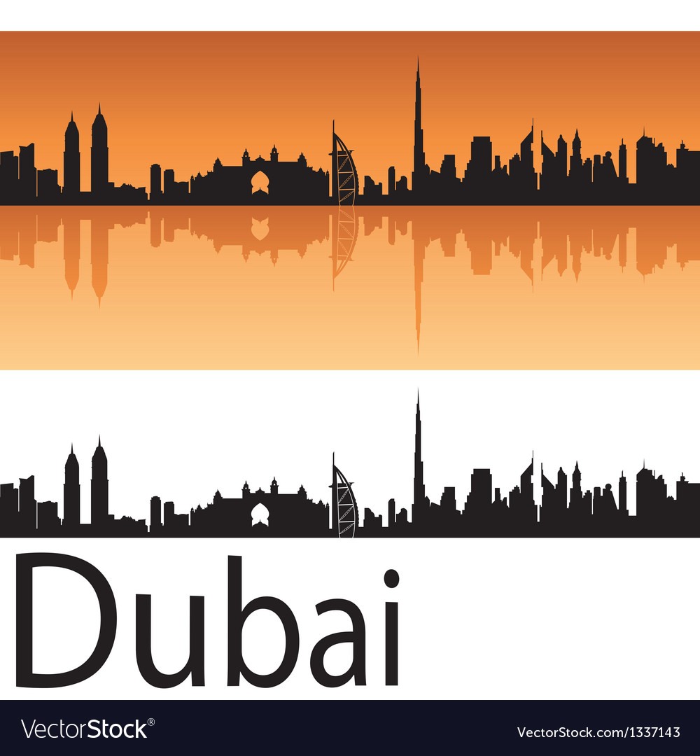 Dubai skyline in orange background vector | Price: 1 Credit (USD $1)