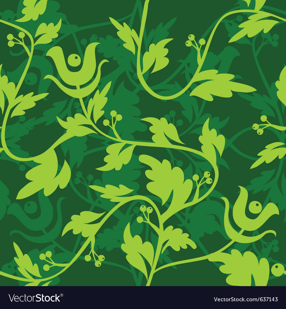 Green floral seamless patter vector | Price: 1 Credit (USD $1)