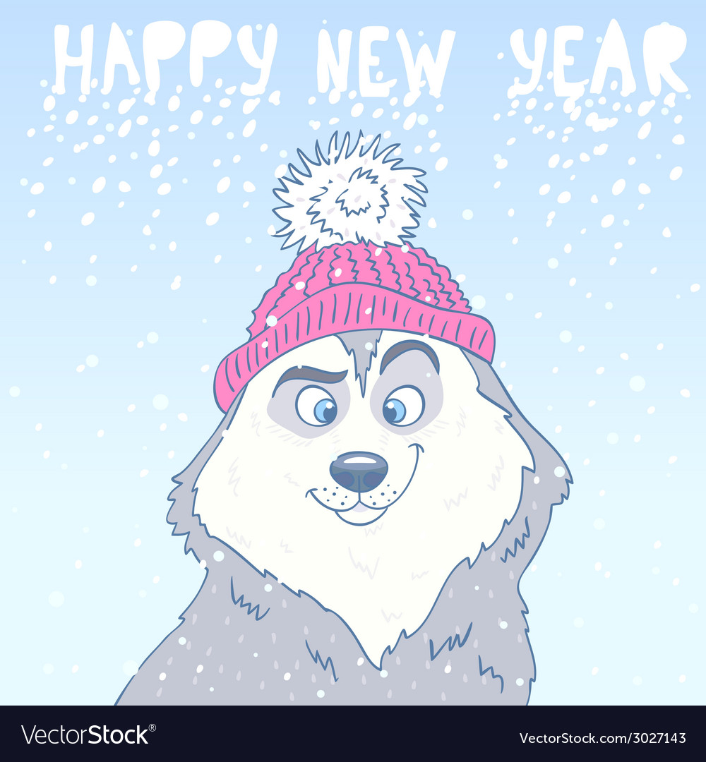 Husky new year vector | Price: 1 Credit (USD $1)