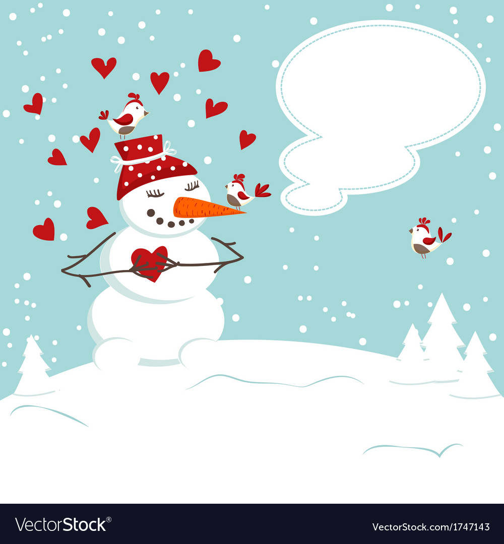 Invitation card with a snowman vector | Price: 1 Credit (USD $1)