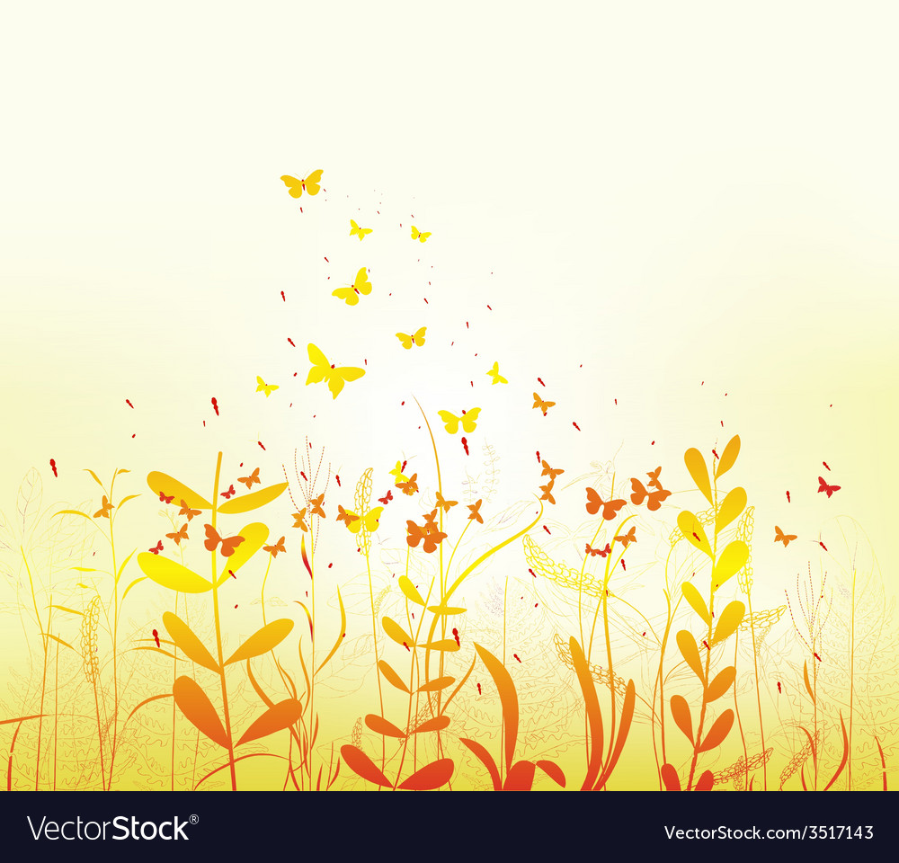 Spring with colorful butterflies vector | Price: 1 Credit (USD $1)