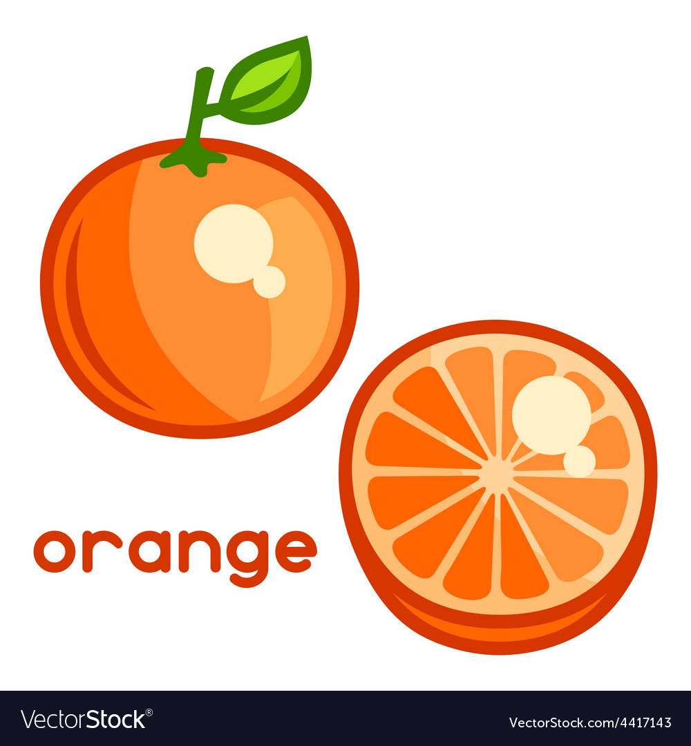 Stylized of fresh orange on white vector | Price: 1 Credit (USD $1)