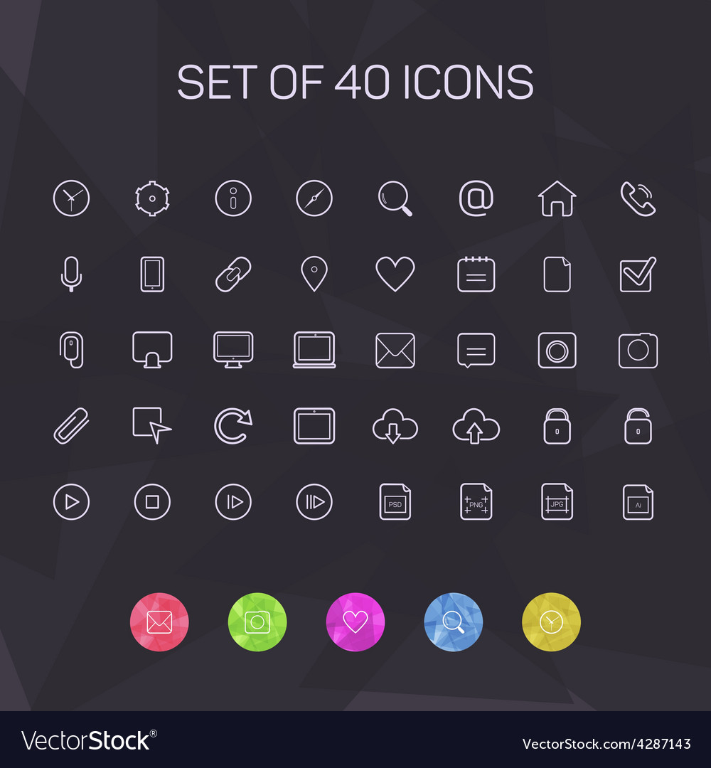 Thin line icons for web and mobile vector