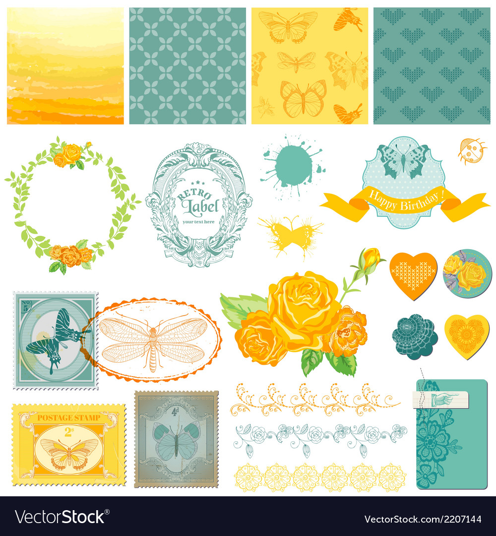 Design elements - vintage ombre butterflies vector | Price: 1 Credit (USD $1)