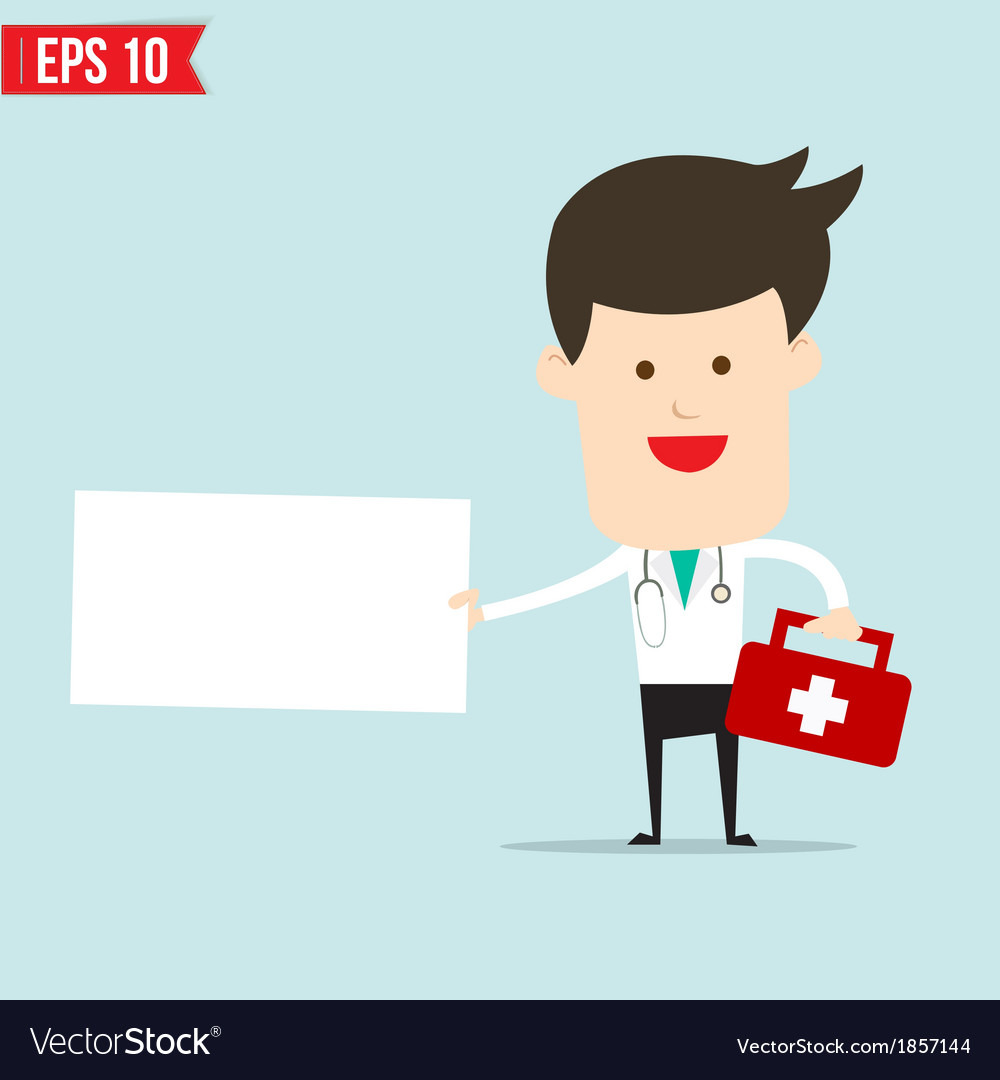 Doctor with blank board vector | Price: 1 Credit (USD $1)