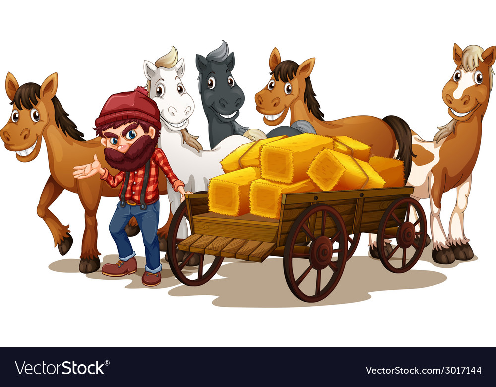 Farmer and horses vector | Price: 1 Credit (USD $1)