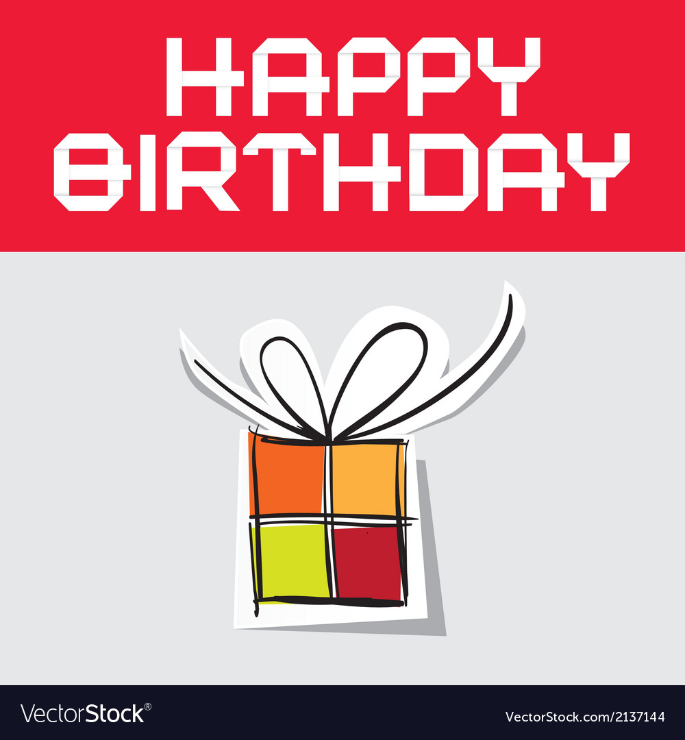 Happy birthday with paper gift box vector | Price: 1 Credit (USD $1)