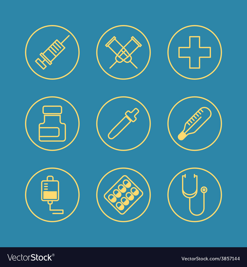 Medical flat design thin line icons set vector | Price: 1 Credit (USD $1)