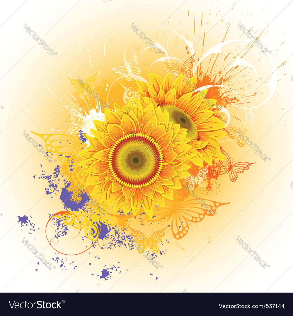 Orange background with sunflowers and butterflies vector | Price: 1 Credit (USD $1)