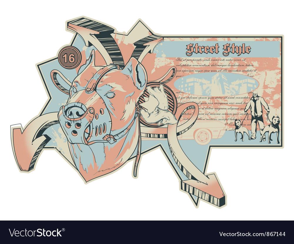 Vintage urban label with pitbull vector   Price: 1 Credit (USD $1)