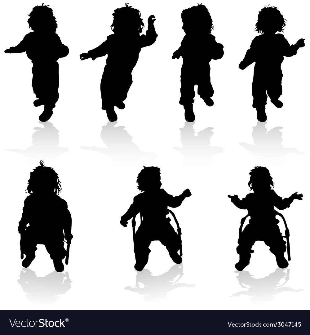 Baby and her chair black silhouette vector | Price: 1 Credit (USD $1)