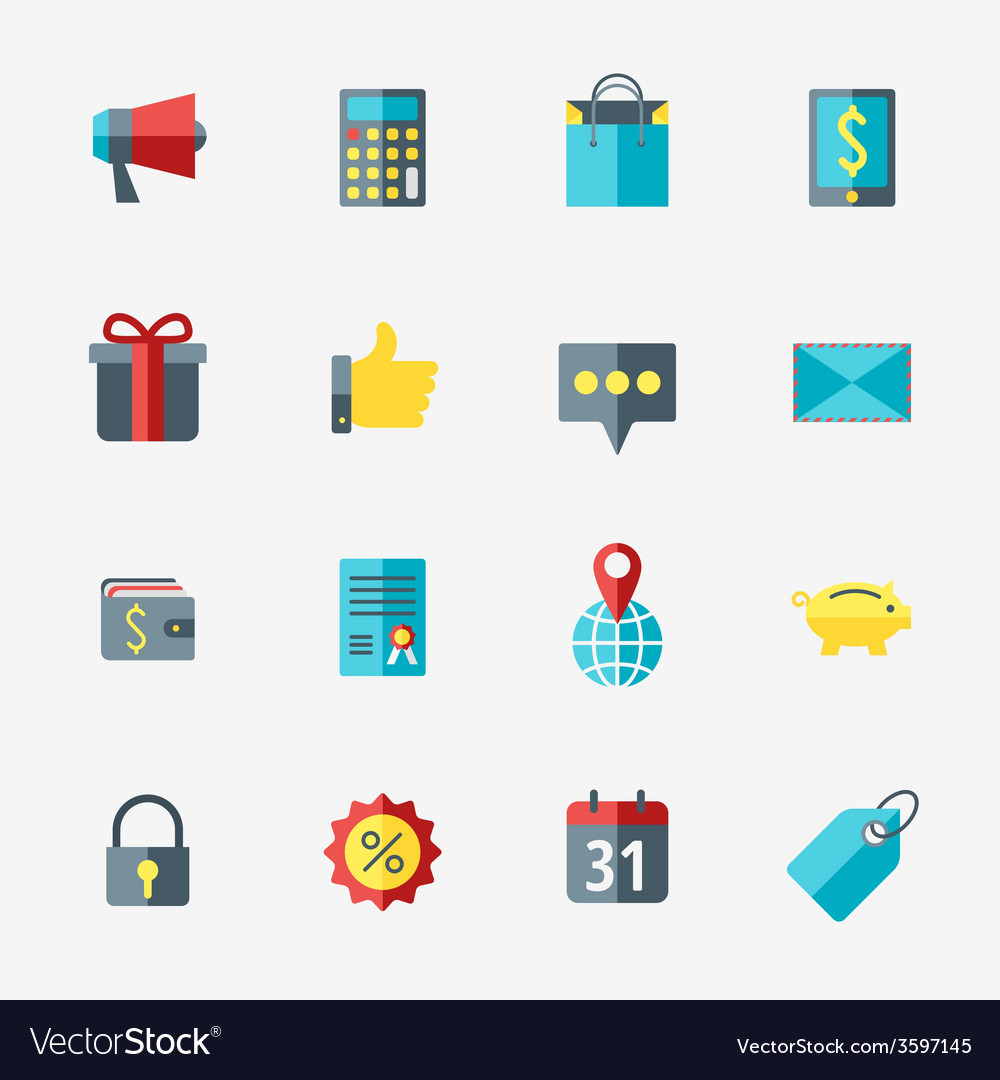 Business and commerce icon set in flat design vector | Price: 1 Credit (USD $1)