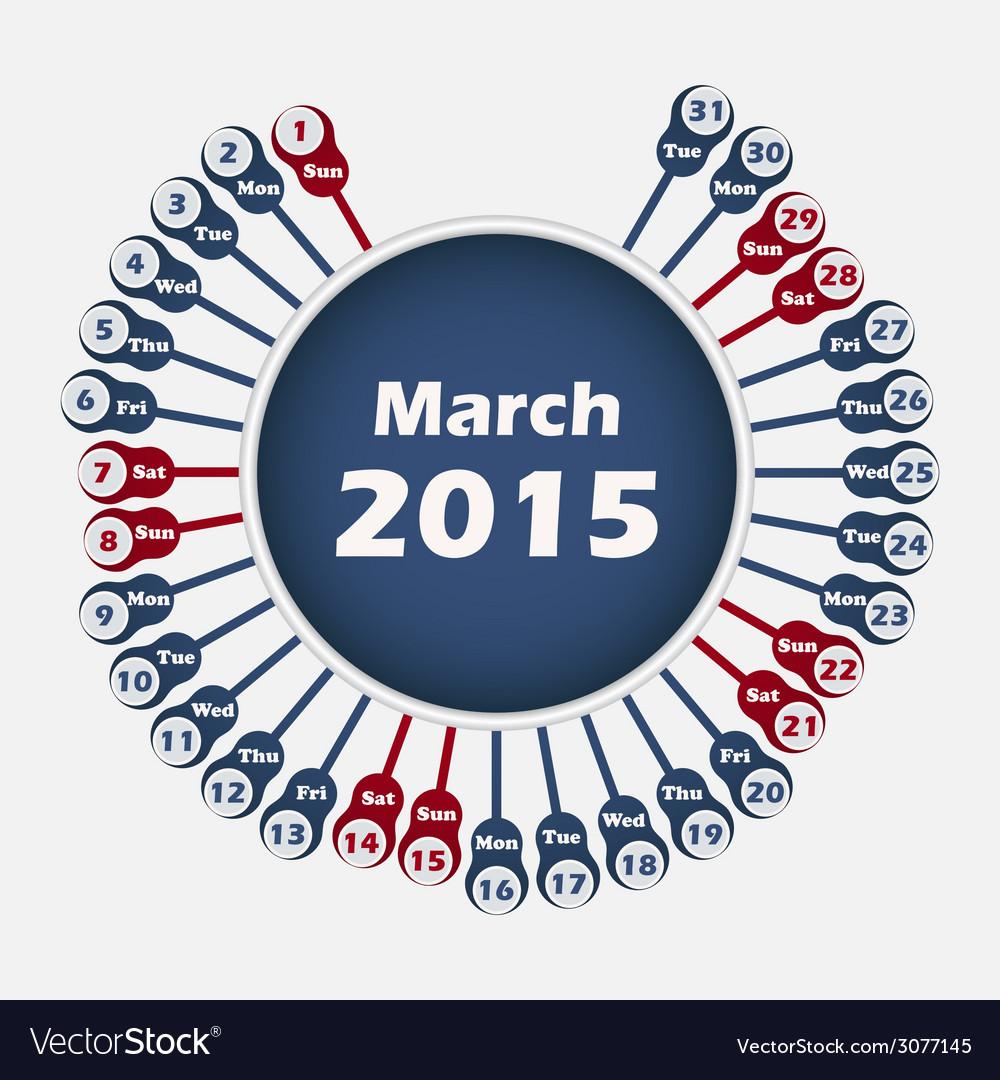 Calendar 2015 march template vector | Price: 1 Credit (USD $1)