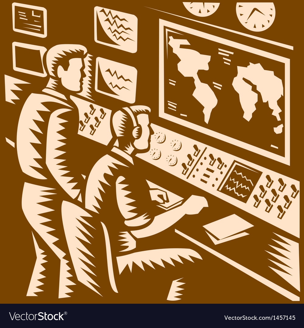 Control room command center headquarter woodcut vector | Price: 1 Credit (USD $1)