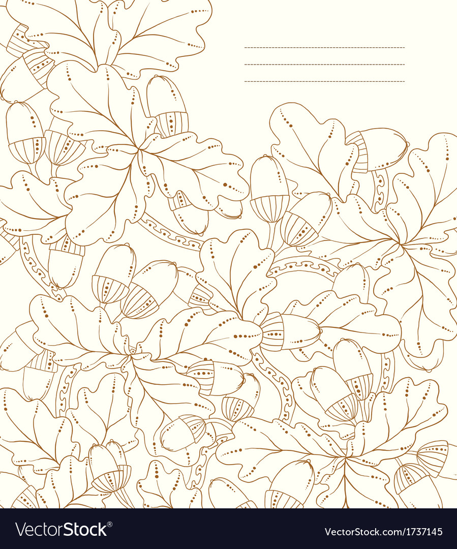 Floral card hand drawn retro oak leaves and acorns vector | Price: 1 Credit (USD $1)