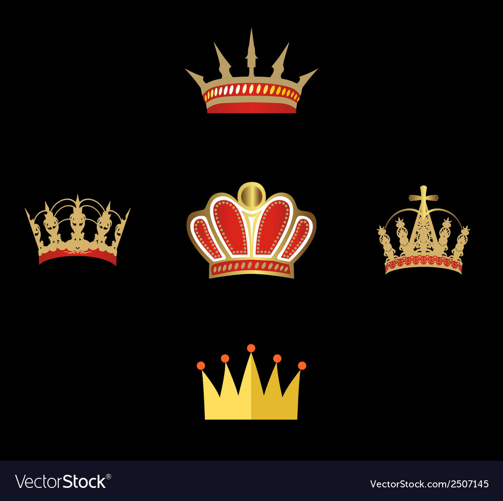 Gold and red crown set of crowns isolated vector | Price: 1 Credit (USD $1)