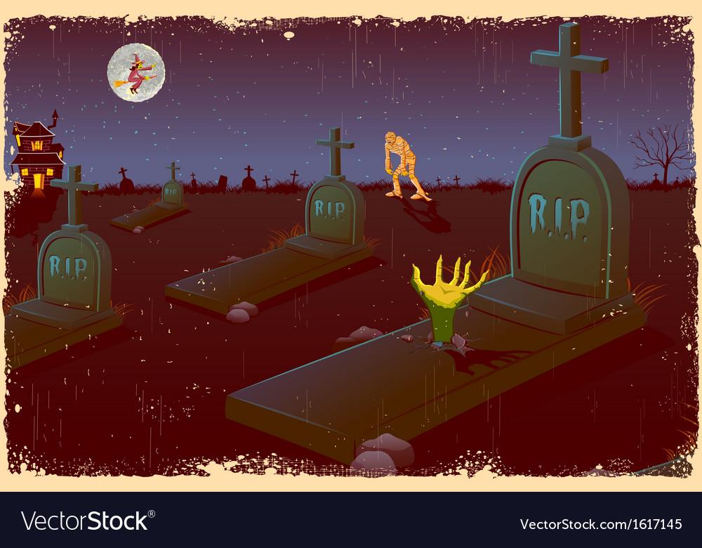 Halloween night in graveyard vector | Price: 3 Credit (USD $3)