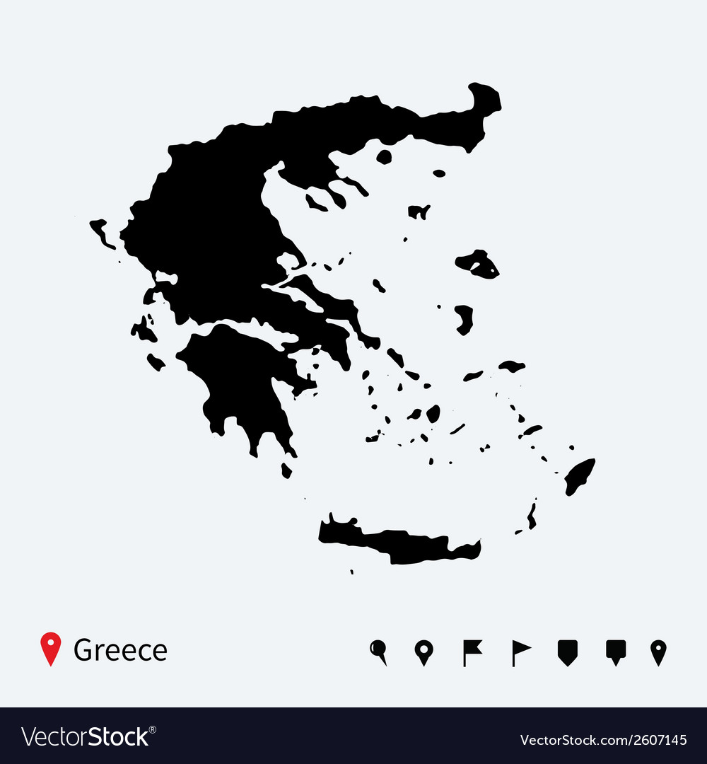 High detailed map of greece with navigation pins vector | Price: 1 Credit (USD $1)