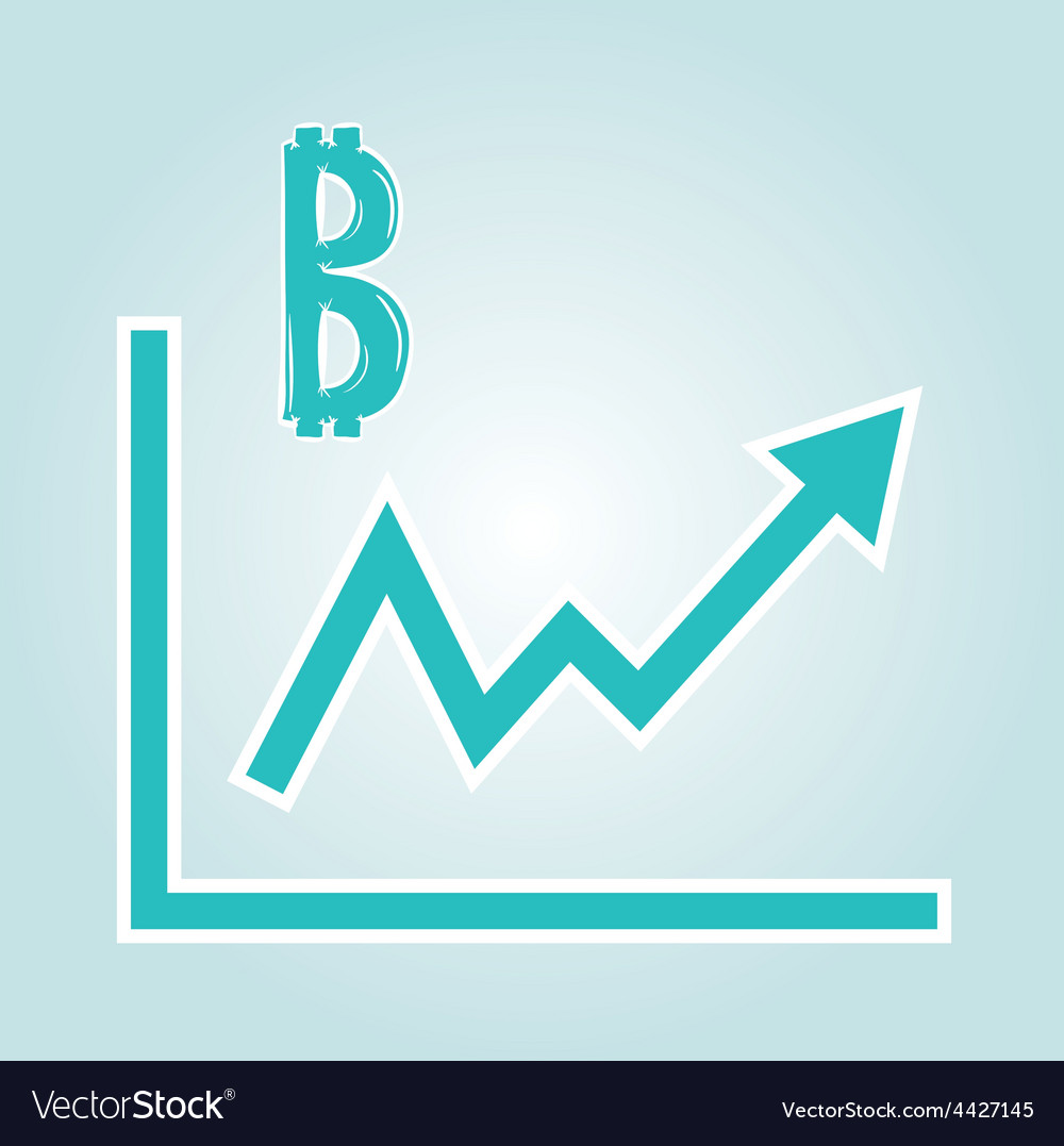 Increasing graph with bitcoin symbol vector | Price: 1 Credit (USD $1)