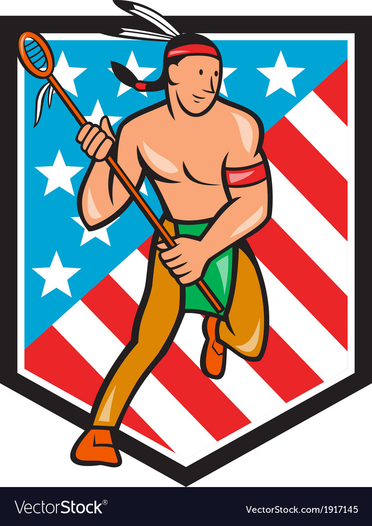 Native american lacrosse player stars stripes vector | Price: 1 Credit (USD $1)