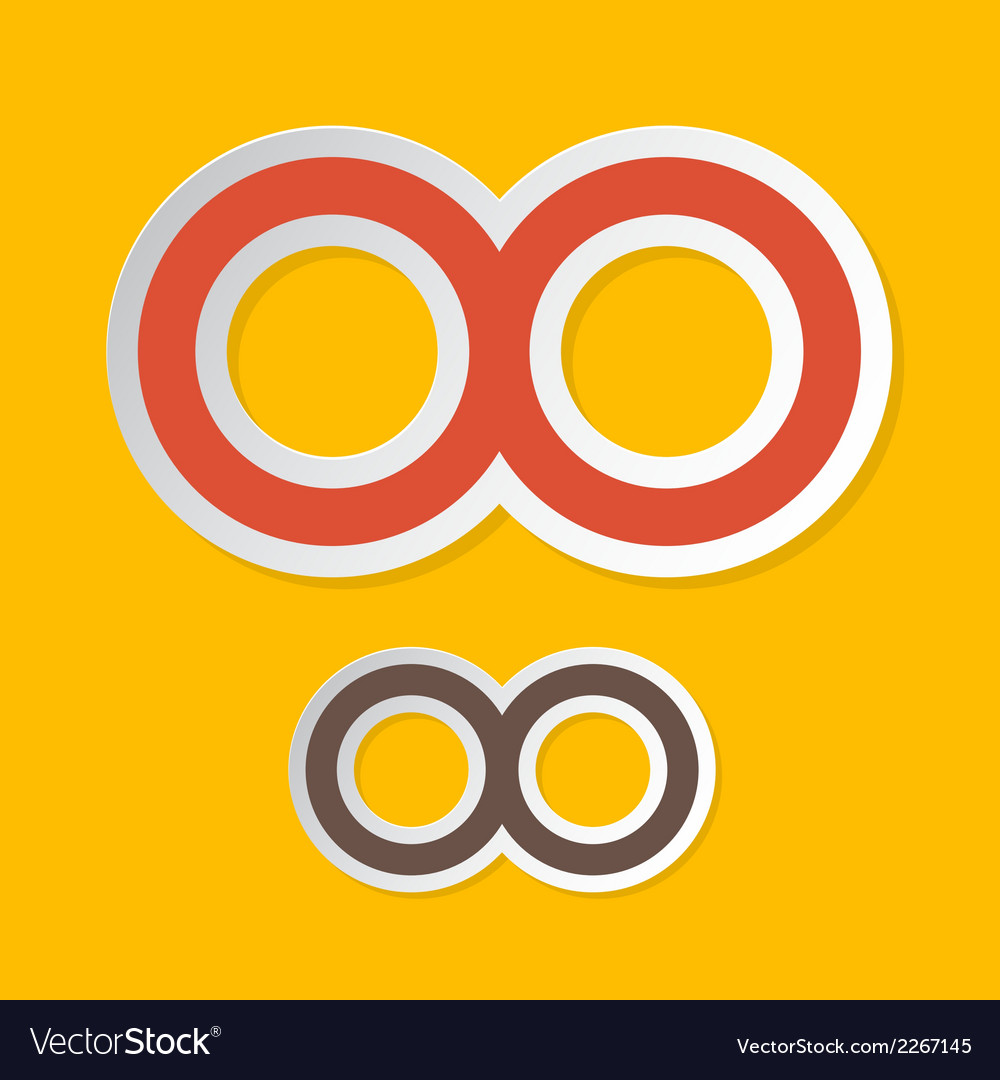 Paper infinity symbols on yellow background vector | Price: 1 Credit (USD $1)