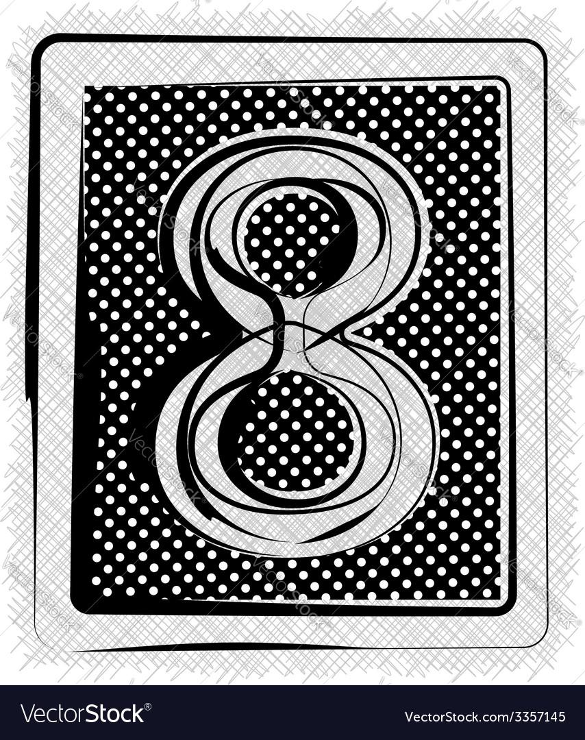 Polka dot font number 8 vector | Price: 1 Credit (USD $1)
