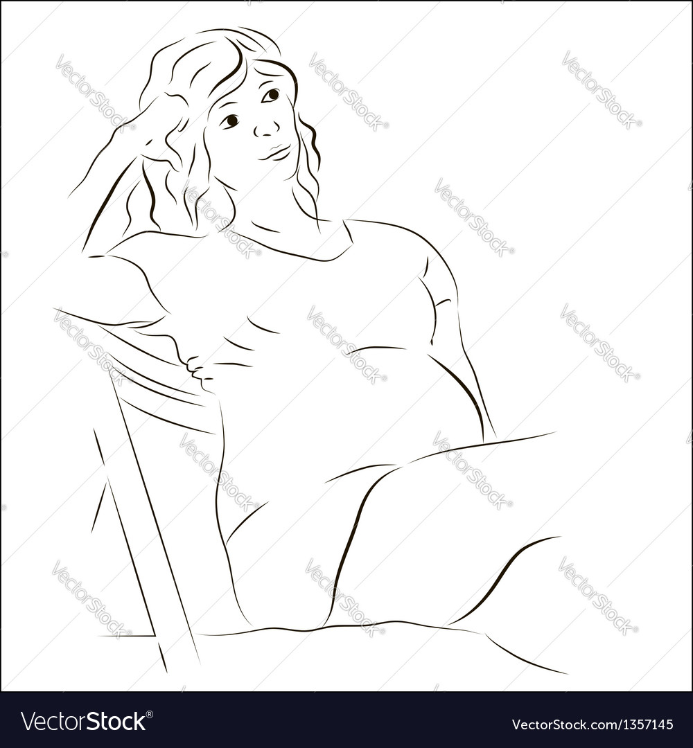 Pregnant woman sitting on the chair vector | Price: 1 Credit (USD $1)