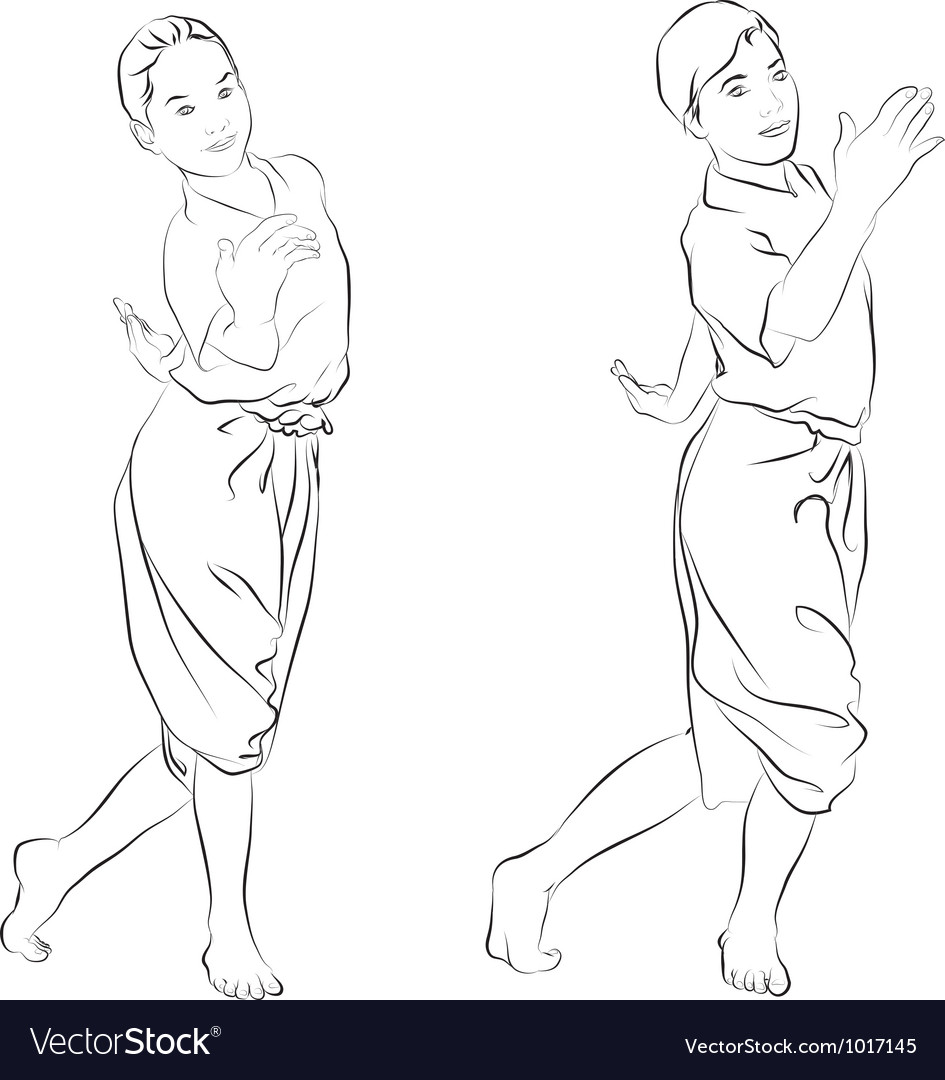The thai national dances vector | Price: 1 Credit (USD $1)