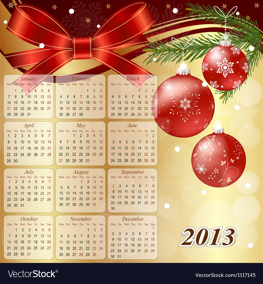 Us calendar for the year 2013 vector | Price: 1 Credit (USD $1)