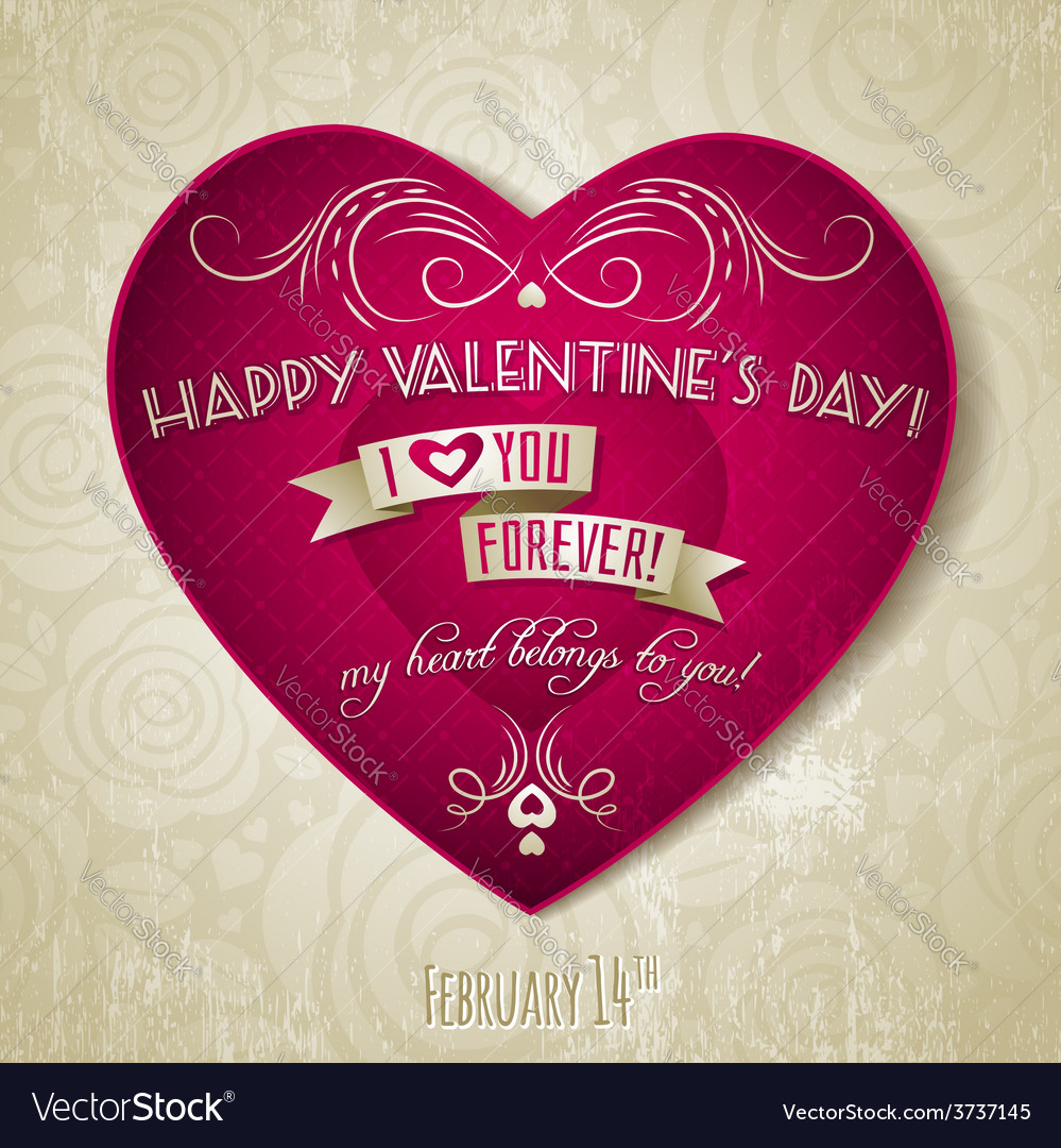 Valentines day greeting card with red heart flower vector | Price: 1 Credit (USD $1)