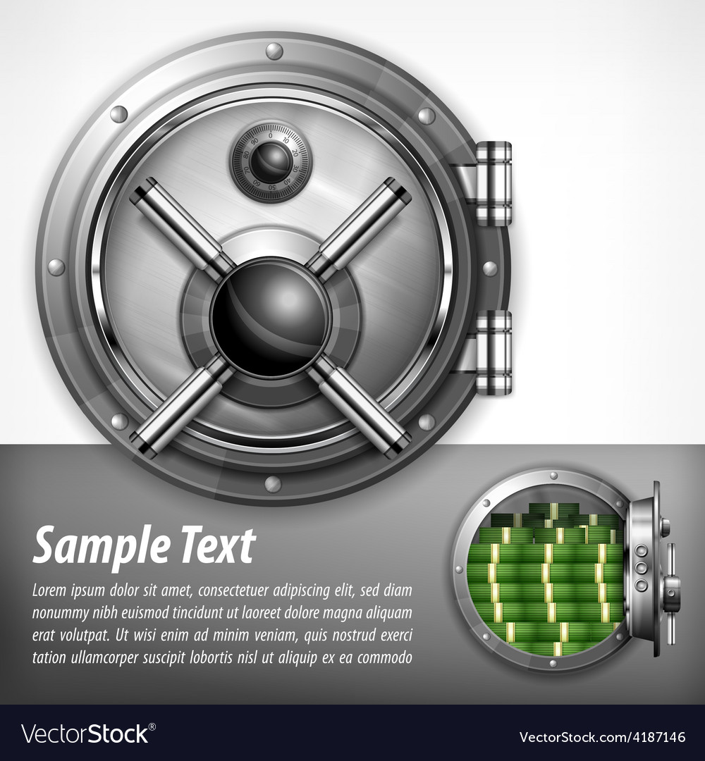 Bank vault on white  text vector | Price: 1 Credit (USD $1)