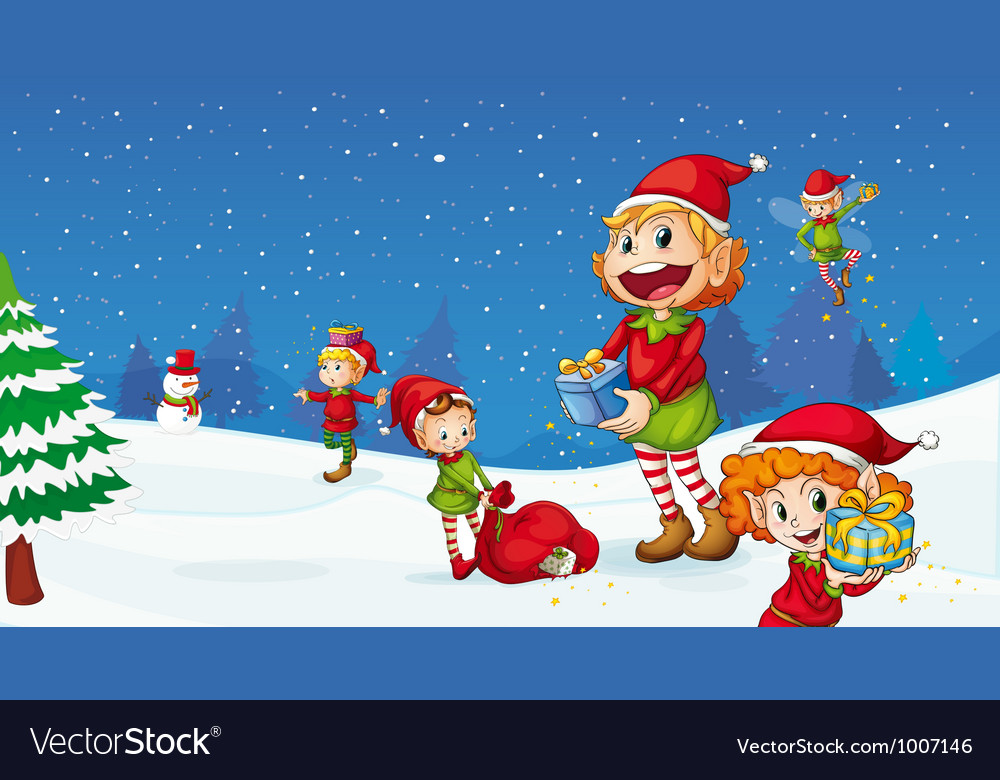 Christmas elves vector | Price: 3 Credit (USD $3)