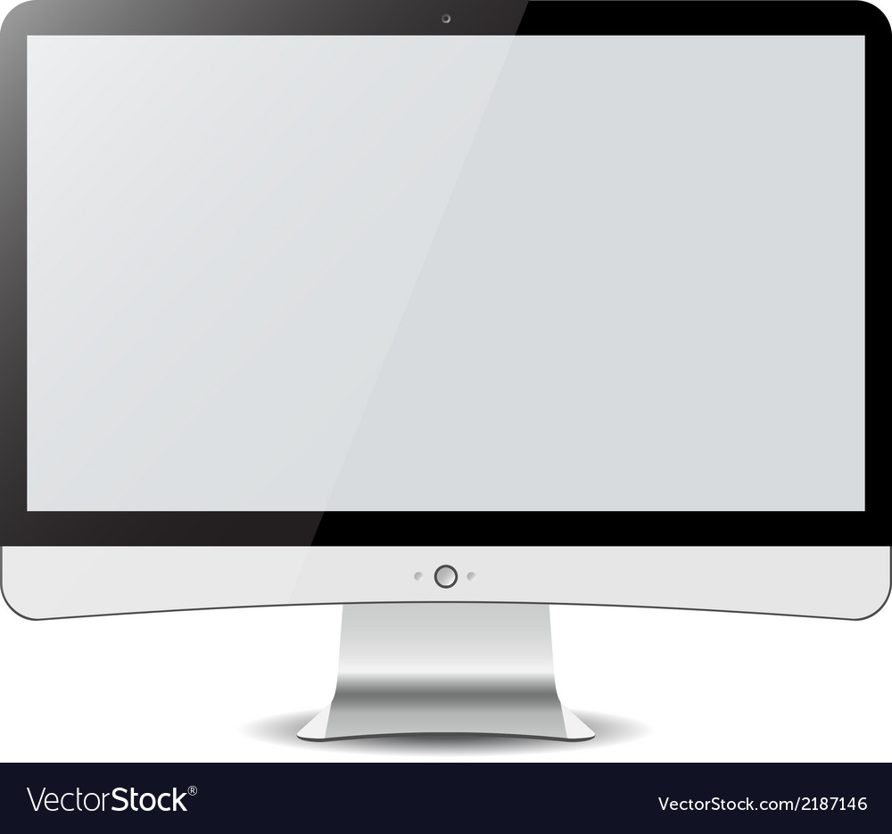 Computer display isolated on white in imac style vector | Price: 1 Credit (USD $1)