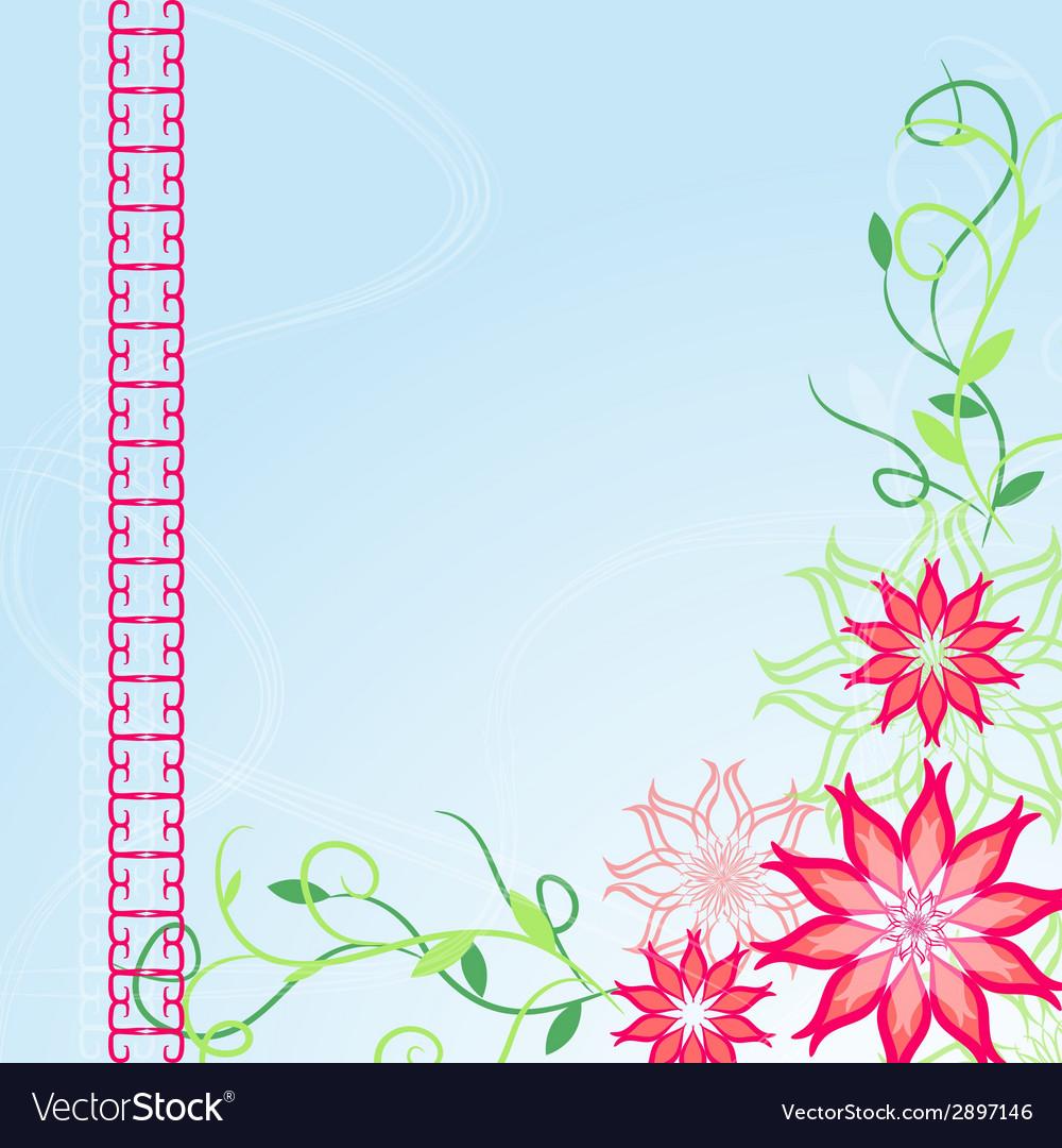 Corner flower blue background vector | Price: 1 Credit (USD $1)