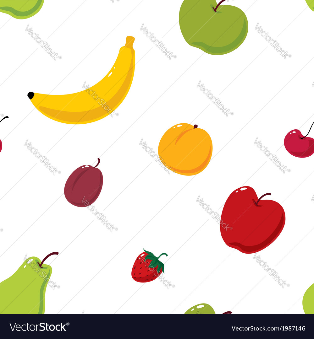 Cute fruits seamless background vector   Price: 1 Credit (USD $1)