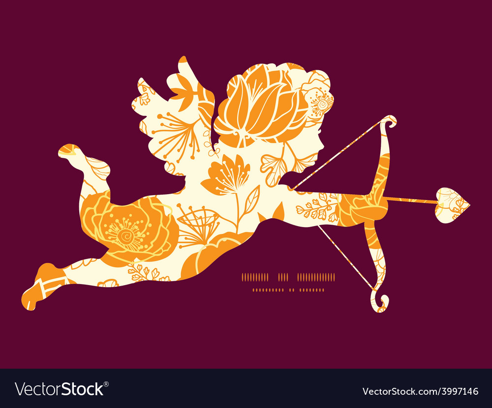 Golden art flowers shooting cupid vector | Price: 1 Credit (USD $1)